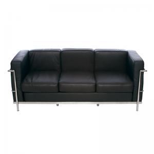 Brown Le Corbusier Style 3 Seater Sofa, Chrome Frame