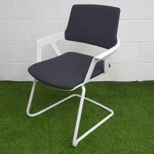 Used Interstuhl Meeting Chair, Cantilever Frame, Stackable (Dark Grey)