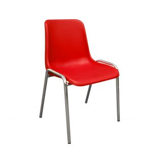 50 x Stacking Chairs - Plastic Seat, Chrome Legs, Various Colours (new)
