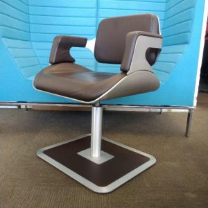 Used Interstuhl Designer Lounge Chair 810S Brown Leather / Silver