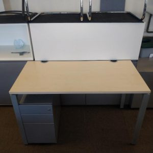 Used Haworth Maple Height Adjustable Desk, Metal Legs, W1200mm £50