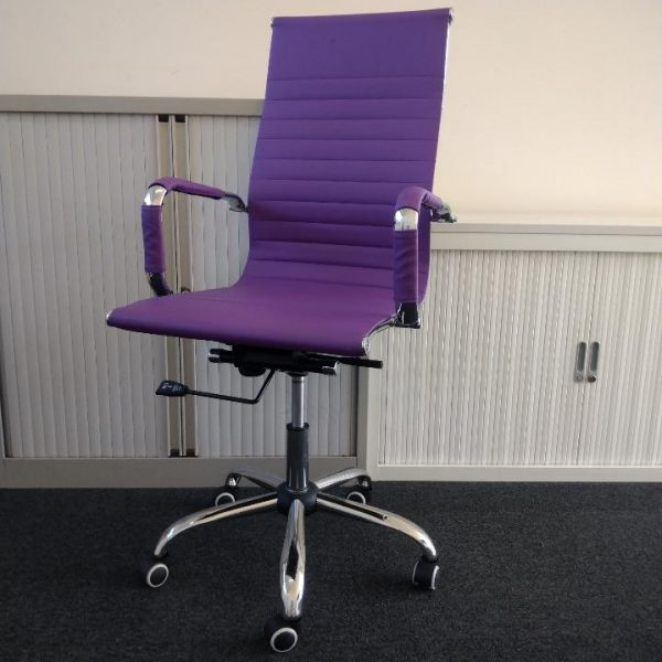 Used Purple/ Chrome High Back Faux Leather Manager / Meeting Chair