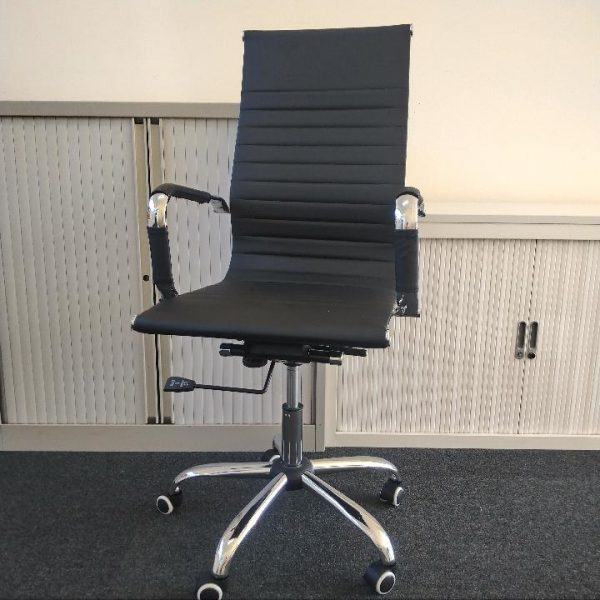 Used High Back Faux Leather Executive Meeting Chair - Black, Chrome