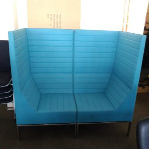 Used Allermuir 2 Seater Booth Seating, High Back, Teal, L1400mm