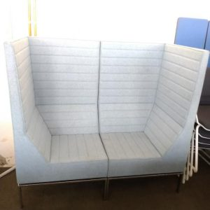 Used Allermuir 2 Seater Booth Seating, High Back, Light Blue, L1400mm