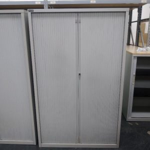 Used Triumph Metal Tambour Cupboard, Lockable, Silver, Height 1620mm