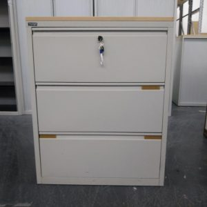 Used Triumph Metal 3 Drawer Side Filing Cabinet, Maple Top H1000mm