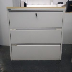 Used Triumph Metal 3 Drawer Side Filing Cabinet, Maple Top H1200mm