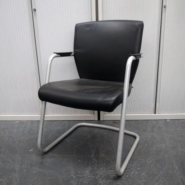 Used Pledge Conference Meeting Chair, Cantilever Type, Black Leather
