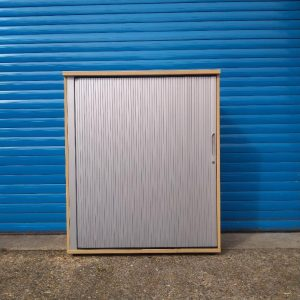 Used Office Tambour Cupboard, Lockable, 2 Shelves, Maple - H1200mm