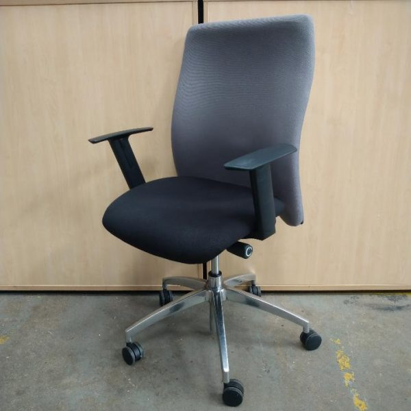 Used High Back Operator Chair, Fully Adjustable, Armrests, Grey / Black