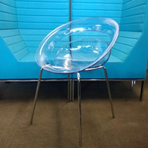 Used Arik Levy Tina Designer Chair, Modern, Clear Moulded Plastic Seat