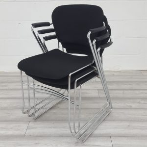 Used KI Perry Stackable Meeting Chair, Cantilever Frame, Black Fabric