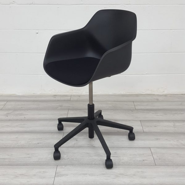 Used Ocee Design Office Tub Chair, Moulded Plastic Seat, Black £49+VAT