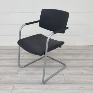 Used Verco Visual Office Meeting Chair, Cantilever Frame, Real Leather