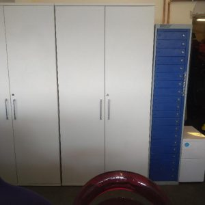 Used Tall White Office Storage Cupboard, 4 Shelves, Lockable, H2000mm