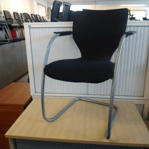 Used Orangebox Cantilever Stacking Meeting Chair, Armrests, Black
