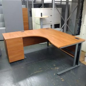 Used Radial Corner Shaped Office Desk With 3 Drawer Pedestal, Cherry