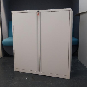 Used KI Metal Mid Height A4 / Foolscap Folder Storage Cupboard, White