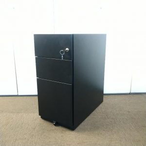 Used Black Metal Mobile Slimline Pedestal 3 Drawer, Height 640mm