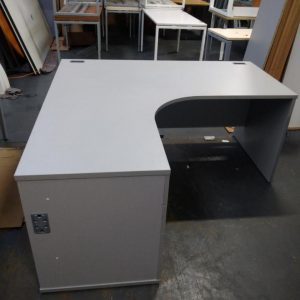 Used Grey Radial Corner Shape Desk + Built-In Pedestal W1600mm