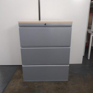 Used Metal 3 Drawer Side Filing Cabinet, Lockable, Maple Top £65+VAT