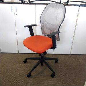 Used Verco Mesh Office Chair, Fully Adjustable, Armrests, Red Seat