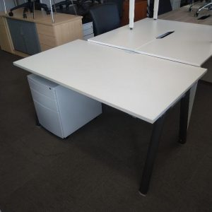 Used Senator Rectangular Office Desk, Metal A Frame, White, 1400mm