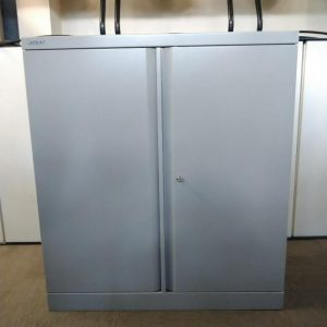 Used Bisley Metal Storage Cupboard, Mid Height, Lockable, Grey, 1 Shelf