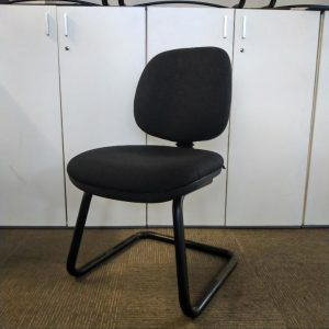 Used Office Meeting / Visitor Chair, Cantilever Frame, Black Padded Seat