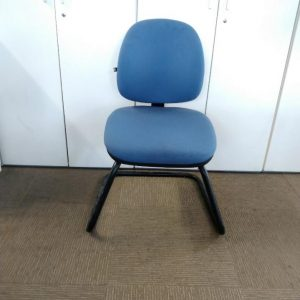 Used Office Meeting / Visitor Chair, Cantilever Frame, Blue Padded Seat