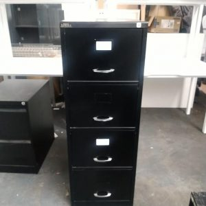 Used Black Metal Filing Cabinet, 4 Drawer, Lockable, £50+VAT