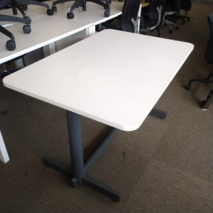 Used White Rectangular Office Desk / Small Meeting Table L1200mm