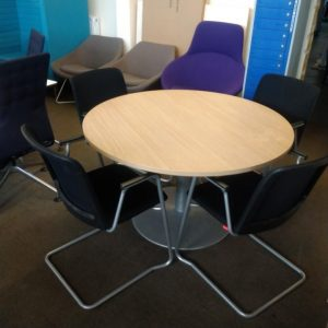 Used 1200mm Round Meeting Table + 4 Haworth Mesh Chairs