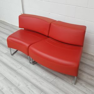 Used Red Leather Modular Reception Sofa / Breakout Seating