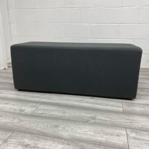 Used Padded Reception Bench Seat, Charcoal Fabric, Width 1160mm