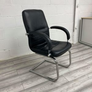 Used Black Leather Executive Meeting / Conference Chair, Chrome Frame