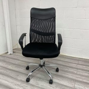 Used Black Mesh Office Chair, High Back, With Armrests & Headrest
