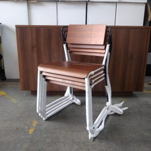 Stacking Chair With Walnut Seat & Back, White / Black Metal Frame (New)