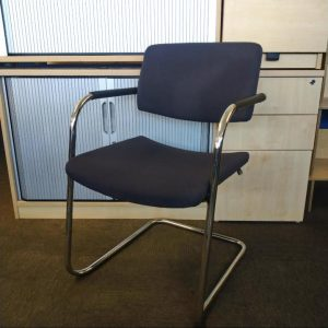 Used Verco Designer Meeting Chair, Cantilever Frame, Stackable, Blue