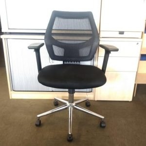 Used Black Mesh Back Office Chair, Armrests, Adjustable