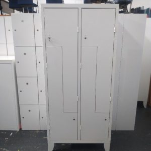 Used Tall White Metal 4 Compartment Storage Locker, Height 1800mm