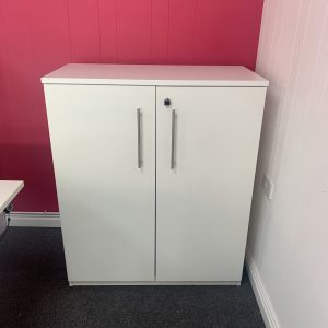 Used Office Cupboard, White, Lockable, With Suspension Filing, H1200mm