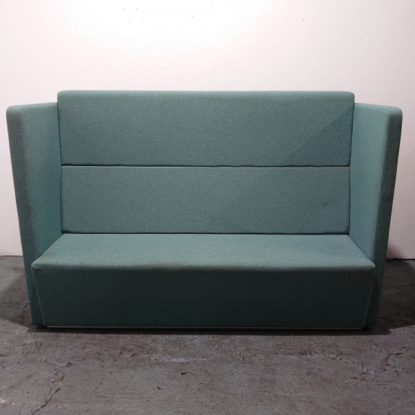 Used Edge 3 Person Booth Seating, High Back Reception Sofa, Teal Blue