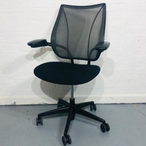 Used Humanscale Liberty Mesh Office Chair, Adjustable Armrests, Black