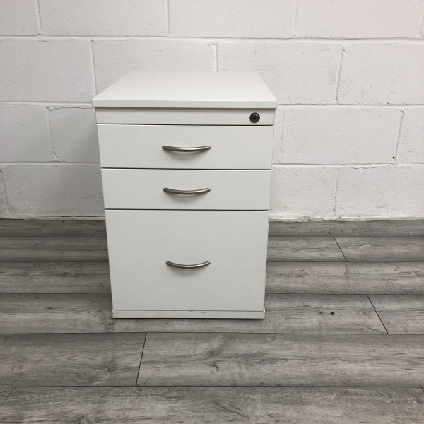 Used 3 Drawer MFC Desk Pedestal, Lockable, Folder Storage, White