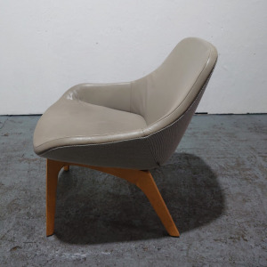 Used Zeitraum Designer Lounge Chair, Grey Leather / Oak Frame