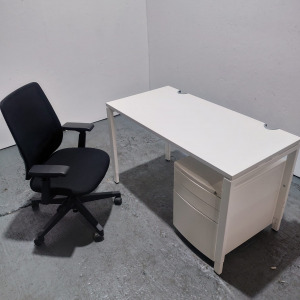 Used Haworth Height Adjustable White Desk + Lively Chair + Pedestal