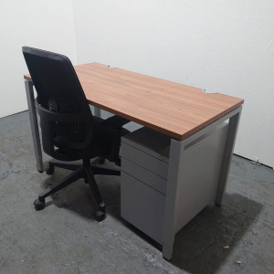 Used Haworth Height Adjustable Walnut Desk + Lively Chair + Pedestal