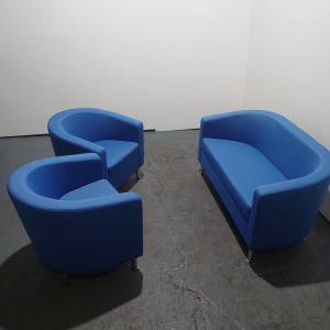 Used Edge Sofa & 2 Tub Chairs Reception Seating Set, Blue